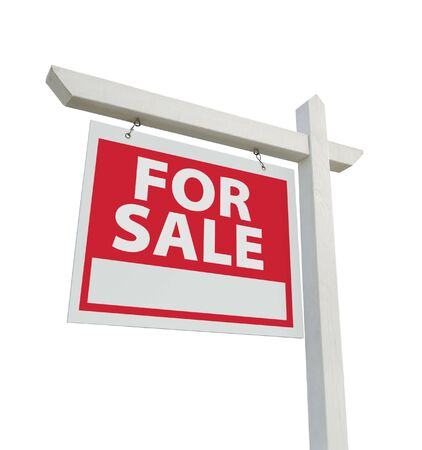 For Sale Real Estate Sign Isolated on a White Background with clipping path.