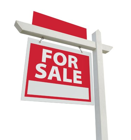 For Sale Real Estate Sign with Extra Room for Your Copy Isolated on a White Background with clipping path. Stock Photo