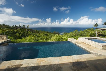 pool deck: Pool and Hot Tub Overlooking the Ocean