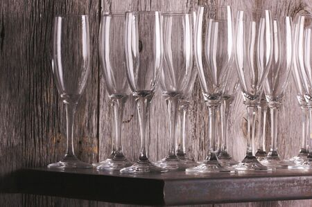 distort: Champagne Flutes on Shelf Abstract