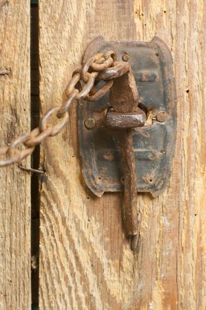 rusty chain: Antique Rusty Barn Door Latch and Chain