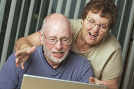 Senior Adults on Working on a Laptop Computer Stock Photo - 3785894