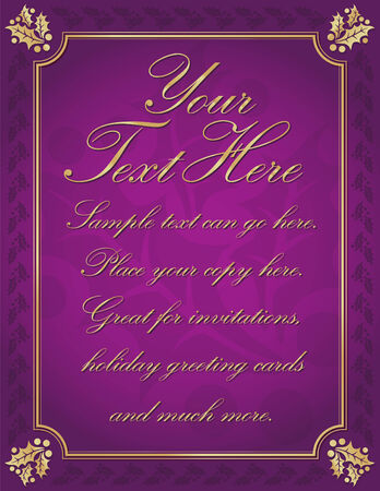 postcard background: Purple Elegant Gold Holly Bordered Background with Room For Your Own Text.