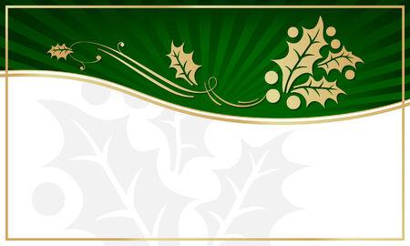 이국적인 녹색 홀리 장식 선물 태그 자신 만 텍스트를위한 공간. 일러스트