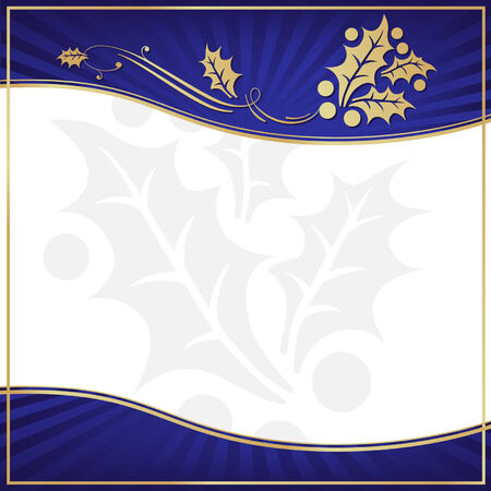 christmas postcard: Exotic Blue Holly Adorned Gift Tag with Room for your own text.