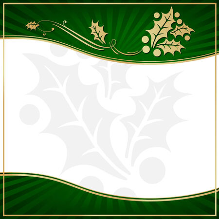 copy space: Exotic Green Holly Adorned Gift Tag with Room for your own text. Illustration