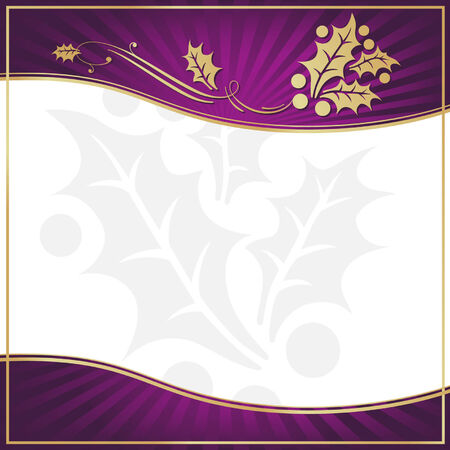 Exotic Purple Holly Adorned Gift Tag with Room for your own text. Vector