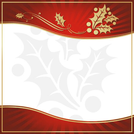 Exotic Red Holly Adorned Gift Tag with Room for your own text. Vector