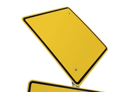 Blank Yellow Road Sign against a White Background photo