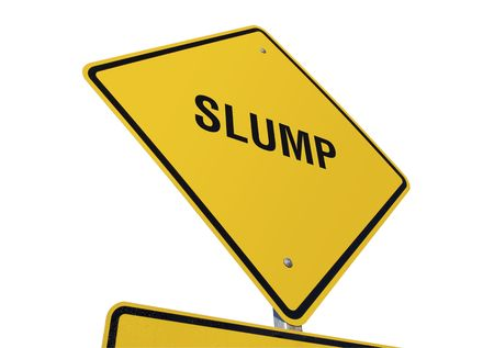 slump: Slump Yellow Road Sign against a White Background Stock Photo
