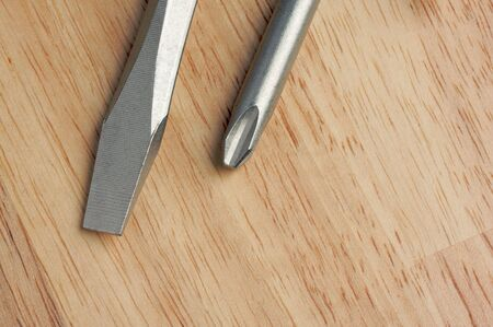 standard steel: Pair of Screwdrivers on a Wood Background