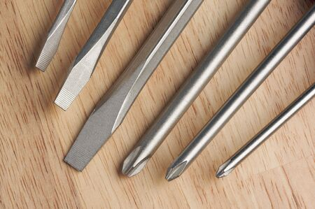 standard steel: Series of Screwdrivers on a Wood Background. Stock Photo