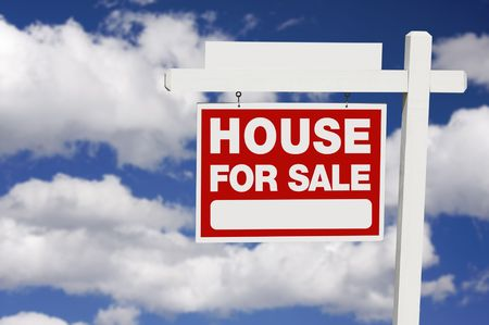 Home For Sale Real Estate Sign on Clouds with Blank Section. Stock Photo - 3863971
