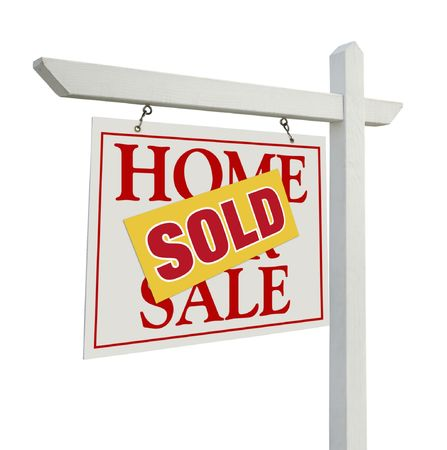 escrow: Sold Home For Sale Real Estate Sign Isolated on a White Background.