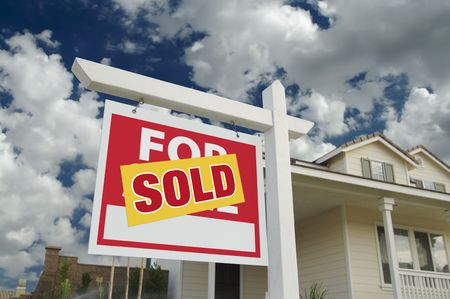 Sold Home For Sale Sign in Front of New House Stock Photo - 3900427