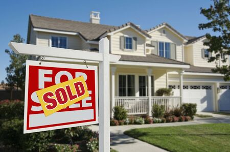 Sold Home For Sale Sign in Front of New House Stock Photo - 3900433