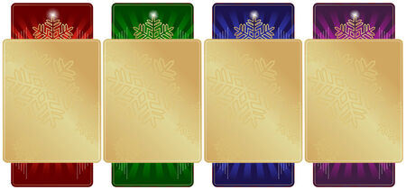 Set of 4 Ornate Christmas Labels with room for your own text. Vector