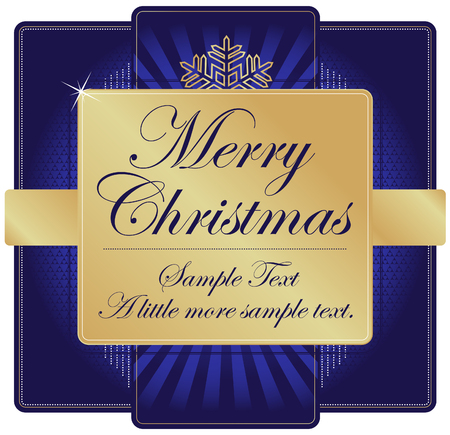 Ornate Blue and Gold Christmas Label with room for your own text. Vector