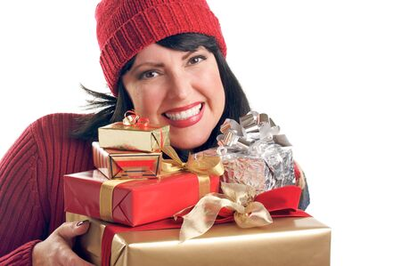 Attractive Woman Holds Holiday Gifts Isolated on a White Background. photo