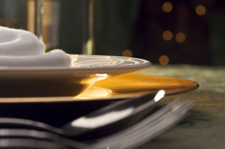 dining table and chairs: Elegant Dinner Setting Abstract Macro Background Stock Photo