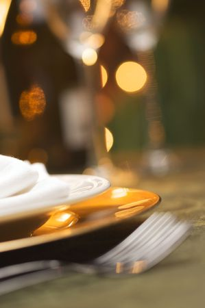 Elegant Dinner Setting Abstract Macro Background photo