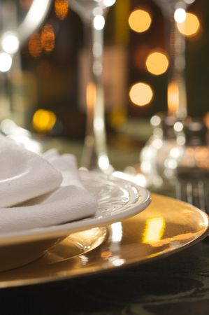 service desk: Elegant Dinner Setting Abstract Macro Background Stock Photo