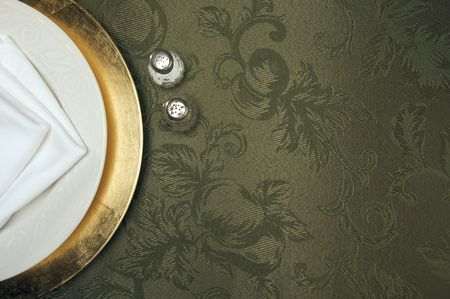 dinner wear: Silk Background and Plate Setting Overhead Stock Photo