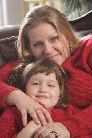 lady s: Young Mother and Daughter Enjoying a Personal Moment Stock Photo
