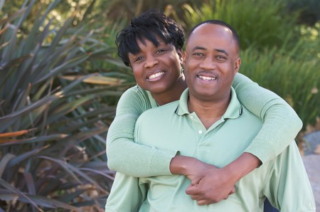 Happy Affectionate Couple posing in the park. Stock Photo