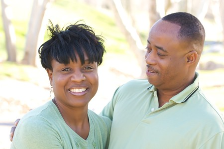 Happy Affectionate Couple posing in the park. Stock Photo - 4135798