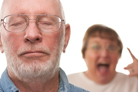 terrible: Angry Senior Couple in a Terrible Argument Stock Photo