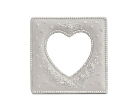 White Heart Shaped Frame Isolated on a White Background. Imagens