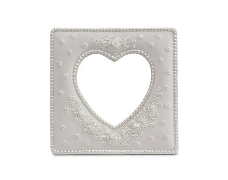 shaped: White Heart Shaped Frame Isolated on a White Background. Stock Photo