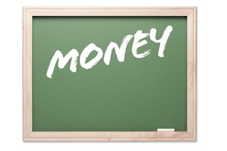 Krijtbord Serie Geïsoleerd op een witte achtergrond - Geld. Stockfoto