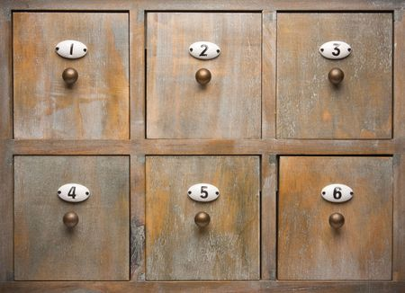 Detailed Antique Wood Filing Cabinet Drawers Image photo