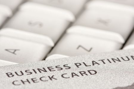Business Credit Card On Laptop with Narrow Depth of Field Stock Photo - 4221449