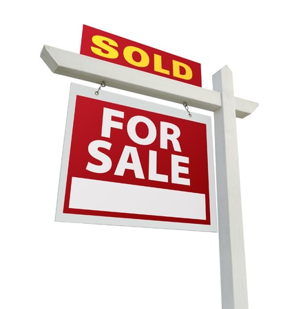 in escrow: Sold Home For Sale Real Estate Sign Isolated on a White Backgroun Stock Photo