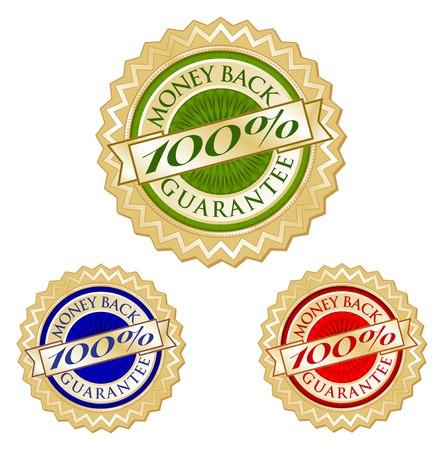 Set of Three 100% Money Back Guarantee Emblem Seals. Stock Photo - 4523340