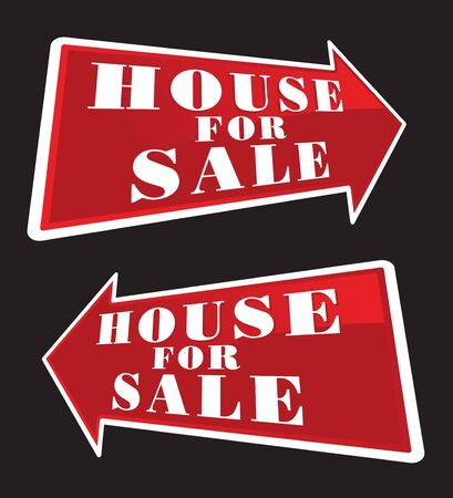 House For Sale Real Estate Sign Arrows. photo