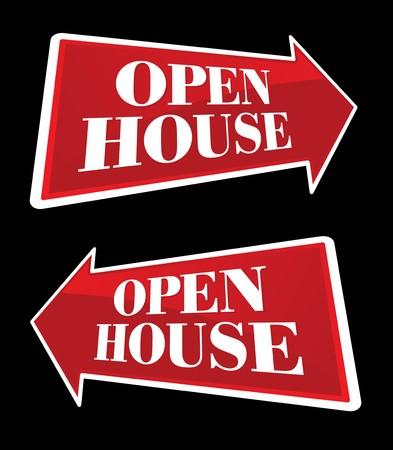 open huis: Open huis onroerend goed pijl ondertekend bi-Direction en in de vooruitzichten. Stockfoto