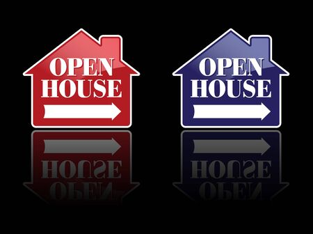 Red and Blue Open House Signs or Buttons. photo