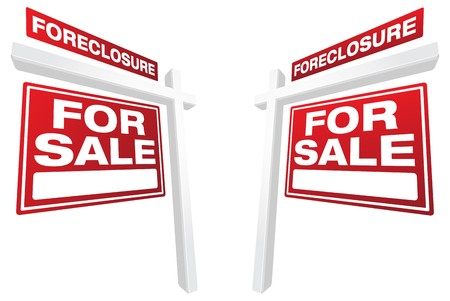 bank owned: Pair of Foreclosure For Sale Real Estate Signs In Perspective.