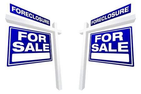bank owned: Pair of Blue Foreclosure For Sale Real Estate Signs In Perspective.