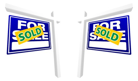 Pair of Blue For Sale Real Estate Signs with Sold in Perspective. Stock Photo - 4523337