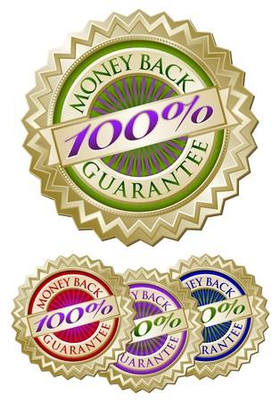 Set of Four Colorful 100% Money Back Guarantee Emblem Seals Stock Photo - 4523341
