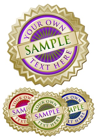 approve: Set of Four Colorful Emblem Seals Ready for Your Own Text.