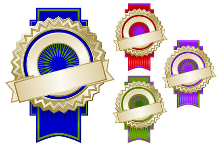Set of Four Colorful Emblem Seals With Ribbons Ready for Your Own Text. Vector