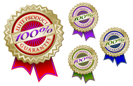 Set of Four Colorful 100% Elite Product Guarantee Emblem Seals With Ribbons. Vector