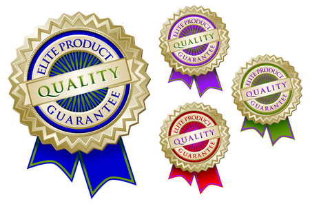 Set of Four Colorful Quality Elite Product Guarantee Emblem Seals With Ribbons. Vector