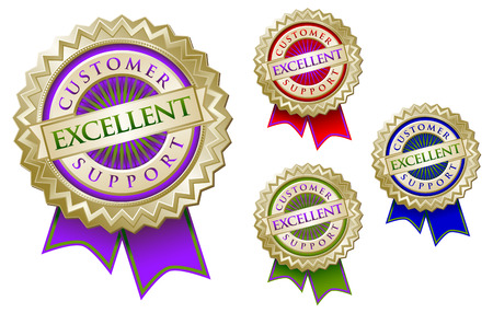 Set of Four Colorful Excellent Customer Support Emblem Seals With Ribbons. Vector